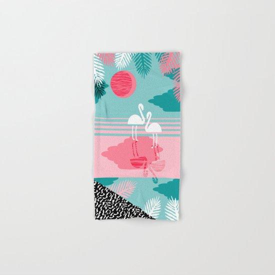 Chill Vibes - memphis retro throwback 1980s 80s neon pop art flamingo paradise socal vacation  Hand & Bath Towel