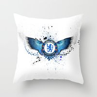 chelsea Throw Pillows featuring Chelsea FC by Future Illustrations- Artwork by Julie C