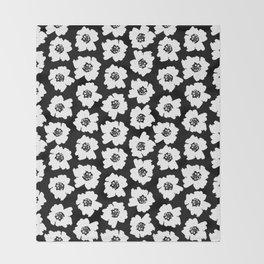 Linocut botanical nature floral flower art nursery black and white decor newborn Throw Blanket
