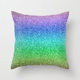 Magic Rainbow Sparkly Glitter Throw Pillow