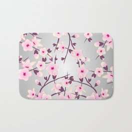 Cherry Blossoms Pink Gray Bath Mat
