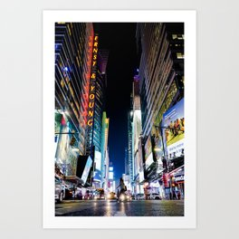 Crossing The Street in Times Square Art Print