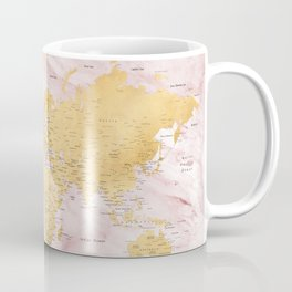 "Adventure awaits, gold and pink marble detailed world map, ""Sherry"" Coffee Mug"