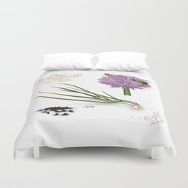 Chives and Pollinators Duvet Cover