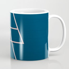 Rule of Thirds Triangles: Rose Gold & Navy Coffee Mug