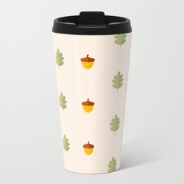 Autumn pattern with leaves and acorns on white background Metal Travel Mug