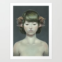 sheep Art Prints featuring Sheep by Lek Chan