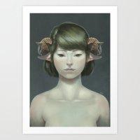 sheep Art Prints featuring Sheep by Lek Chan