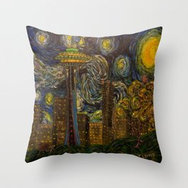 Dedication to Van Gogh: Seattle Starry Night Throw Pillow