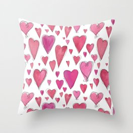 Watercolor My Heart (Large) by Deirdre J Designs Throw Pillow
