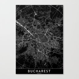 Bucharest Black Map Canvas Print