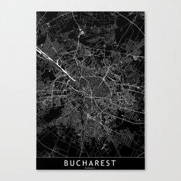 Bucharest Black Map Canvas Print