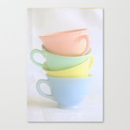 Pastel Tea Cup Stack Canvas Print