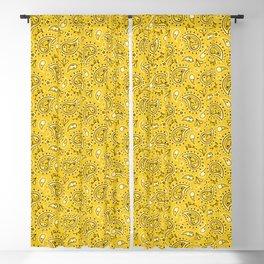 Retro Dog Paisley - Yellow Blackout Curtain