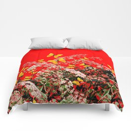 RED GARDEN ART OF YELLOW BUTTERFLIES & LACEY FLOWERS Comforters