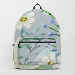 White and Blue Flowers Backpack