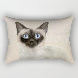 Siamese Cat Watercolor Painting Blush Pink Gold Rectangular Pillow