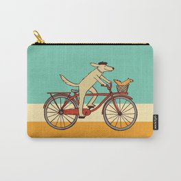 Cycling Dog with Squirrel Friend Carry-All Pouch