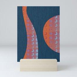 Digital Blue Denim and Glowing Orange Moon and Star Mini Art Print