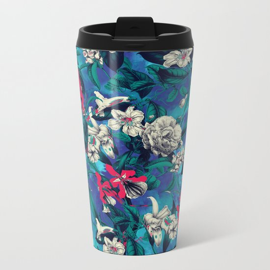 Botanical Garden on Blue Metal Travel Mug