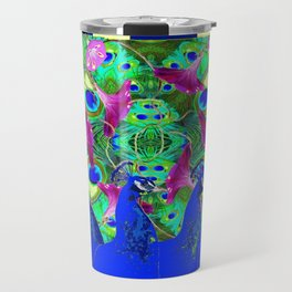 BLUE PEACOCKS & MORNING GLORIES PARALLEL YELLOW PATTERNED ART Travel Mug