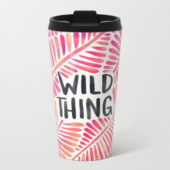 Wild Thing – Pink Ombré & Black Palette Metal Travel Mug