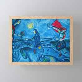 Lovers Over Paris, France landscape painting by Marc Chagall Framed Mini Art Print