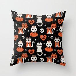 Halloween Kitties (Black) Throw Pillow