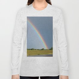 Rainbow over Farm Field Long Sleeve T-shirt