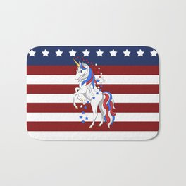 American Flag Stars and Stripes Unicorn Bath Mat