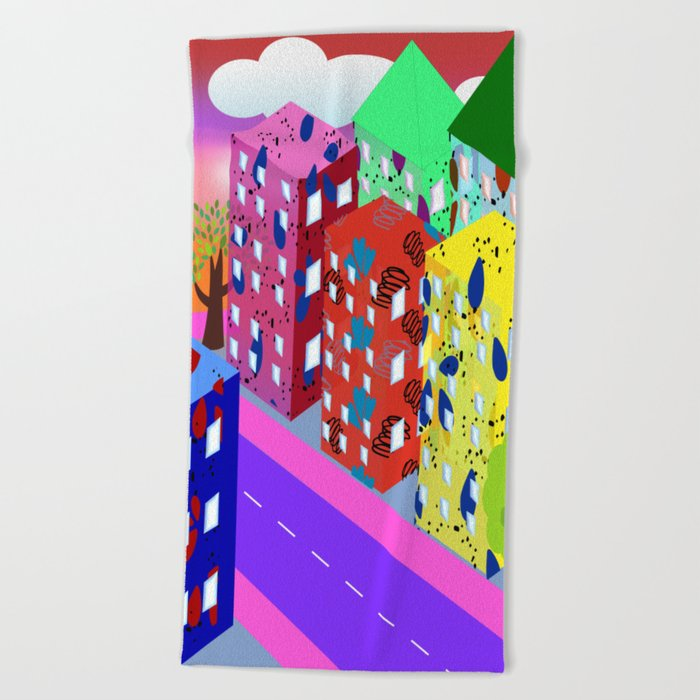 Abstract Urban By Day Beach Towel
