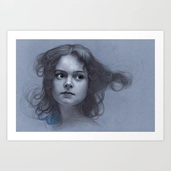Behind greyness - pencil drawing on paperboard Art Print