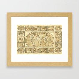 Vintage map of the World Framed Art Print