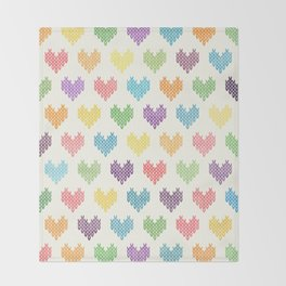 Colorful Knitted Hearts II Throw Blanket