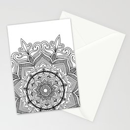 Black Flower Mandala Stationery Cards