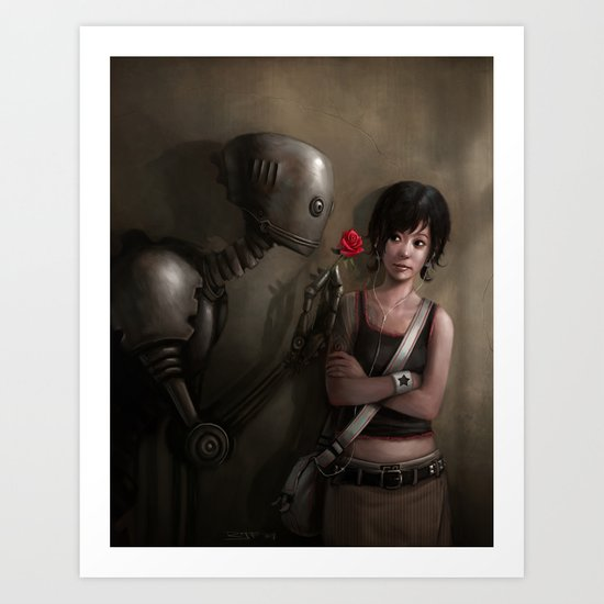 Robot In Love Art Print