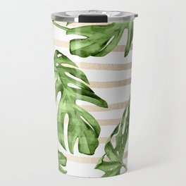 Simply Tropical White Gold Sands Stripes and Palm Leaves Travel Mug