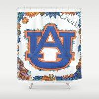 chuck Shower Curtains featuring Auburn for Chuck by Vera Hughes