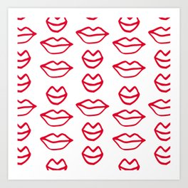 Red Lips Hand Drawn Pattern Art Print