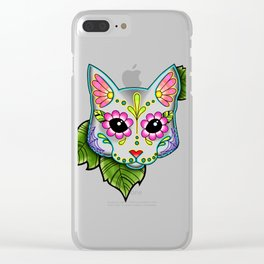 Grey Cat - Day of the Dead Sugar Skull Kitty Clear iPhone Case