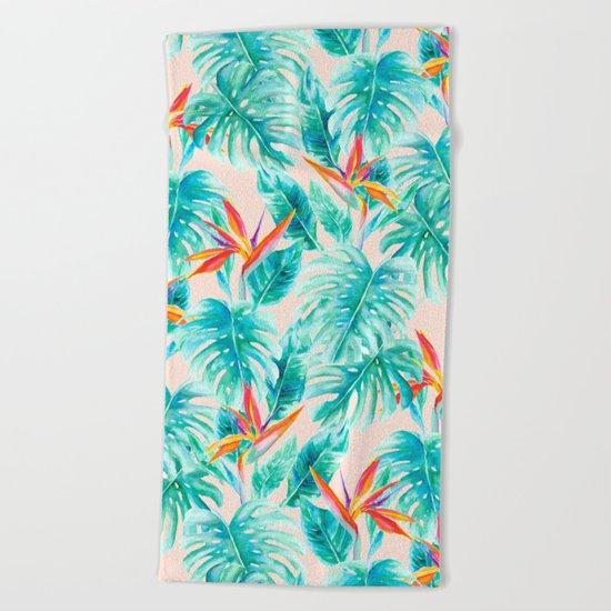 Tropical Paradise Pale Peach Beach Towel
