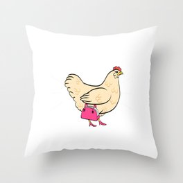 "A Chicken German Tee ""Verruckte Huhner On Tour"" Which Means ""Crazy Chickens On Tour"" T-shirt Design Throw Pillow"
