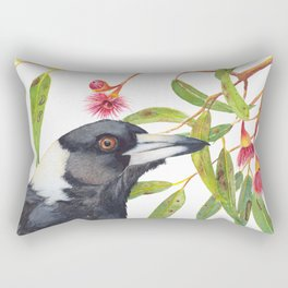 Australian Magpie and eucalyptus blossoms watercolour painting Rectangular Pillow