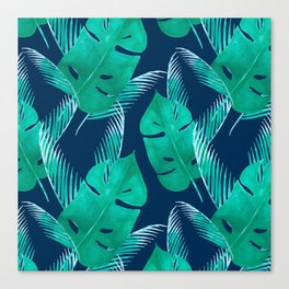 TROPICAL PATTERN BANANA LEAVES WATERCOLOR Canvas Print
