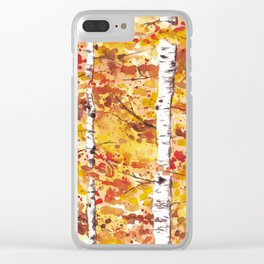 Fall Birch Trees Clear iPhone Case