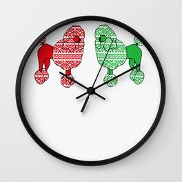 Christmas Poodles Wall Clock