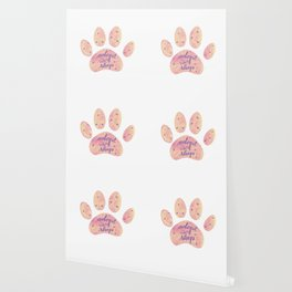 Adopt don't shop galaxy paw - pastel pink and ultraviolet Wallpaper