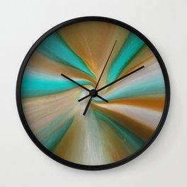 Blue green and brown art Wall Clock