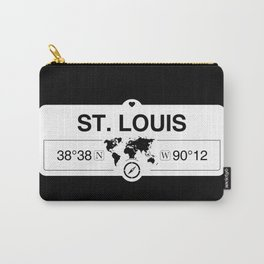 St. Louis Missouri Map GPS Coordinates Artwork with Compass Carry-All Pouch