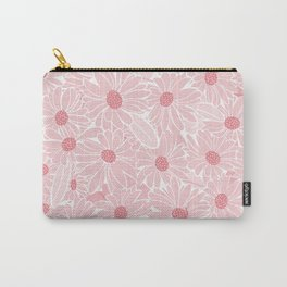 Pen & Ink Pink Daisies Carry-All Pouch